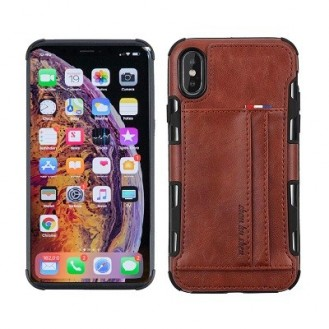 iPhone XR Wallet Leder Case Hülle Braun