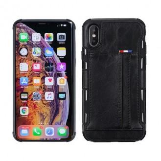 iPhone XR Wallet Leder Case Hülle Schwarz