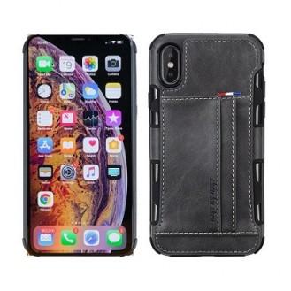 iPhone XR Wallet Leder Case Hülle Grau