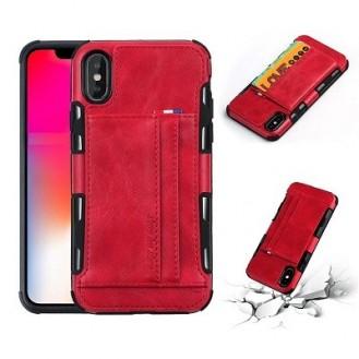 iPhone XR Wallet Leder Case Hülle Rot