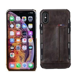 iPhone XR Wallet Leder Case Hülle Dunkel Braun