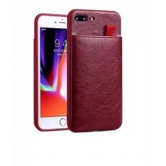 iPhone XR Wallet Ribbon Leder Case Hülle Wine Rot