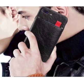 iPhone XR Wallet Ribbon Leder Case Schwarz