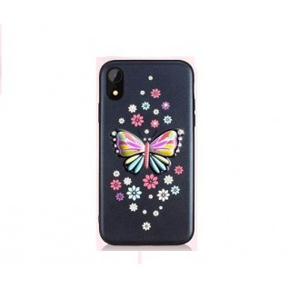 iPhone XS Max Butterfly Silikon Case Schwarz