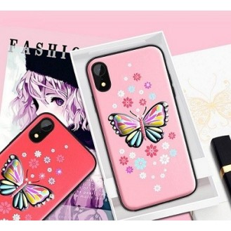 iPhone XS Max Butterfly Silikon Case Pink