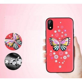 iPhone XR Butterfly Silikon Case Rot