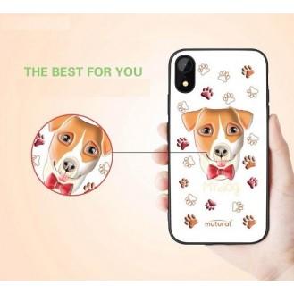 iPhone XR 3D Hund Silikon Case Weiss