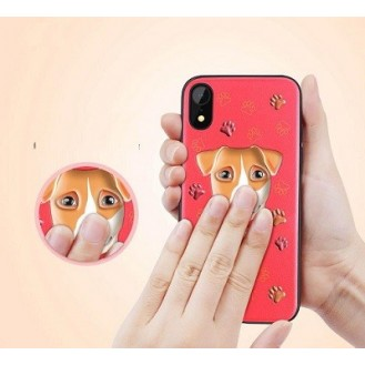 iPhone XR 3D Hund Silikon Case Rot