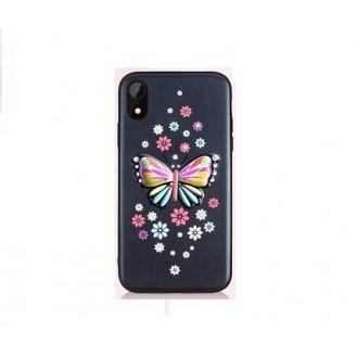 iPhone XR Butterfly Silikon Case Schwarz