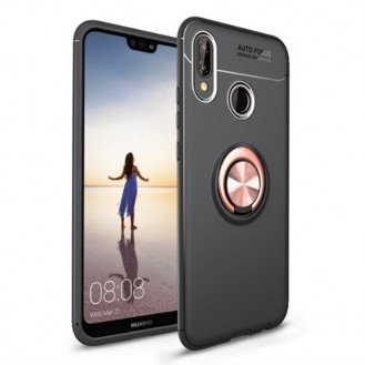 Huawei Mate 20 Pro Silikon Case mit Auto Halter Schwarz Pink