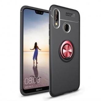 Huawei Mate 20 Pro Silikon Case mit Auto Halter Schwarz Rot