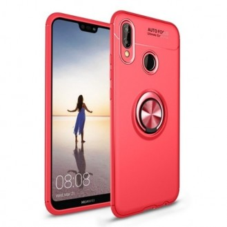 Huawei Mate 20 Pro Silikon Case mit Auto Halter Rot