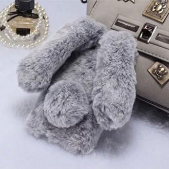 Neuer Kaninchen Pelz fur iPhone XR Grau
