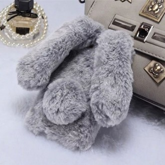 Neuer Kaninchen Pelz fur iPhone XS Max Weiss