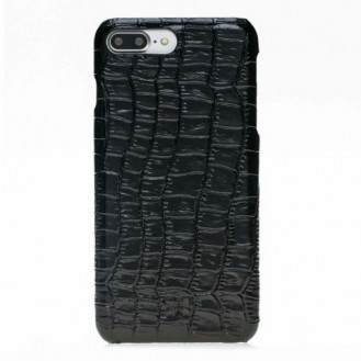 Bouletta Echt Leder Case iPhone 7/8 Plus Ultimate Jacket Croco Schwarz