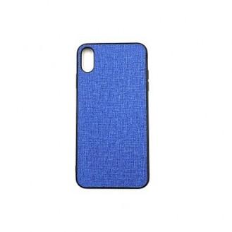 iPhone XS Max Silikon Stoff Leder Hülle Blau