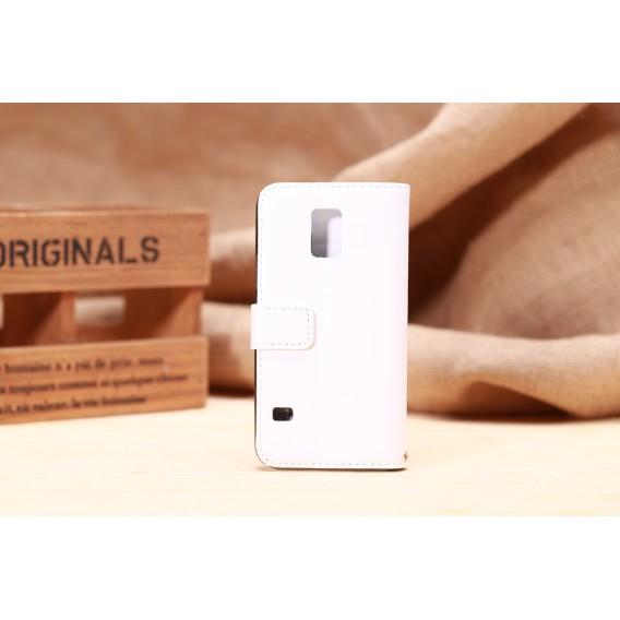 Leder Kreditkarte Etui Galaxy S5 Mini Weiss