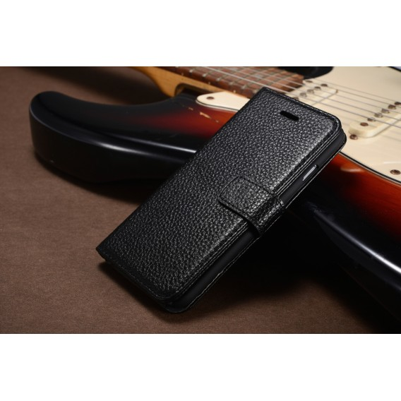 Schwarz Echt Leder Kreditkarte Etui iPhone 6 4,7
