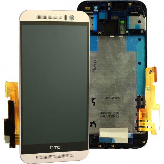 HTC One M9 LCD Komplett Einheit, inkl Displayrahmen Silber
