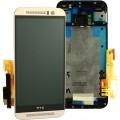 HTC One M9 LCD Komplett Einheit, inkl Displayrahmen Silber (Serviceware)