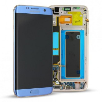 Samsung Galaxy S7 Edge Komplett LCD  Frontcover, Blau