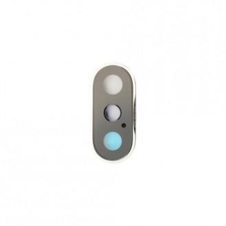 Kamera Linse mit Rahmen Kompatibel mit iPhone XS Weiss A1920, A2097, A2098, A2100
