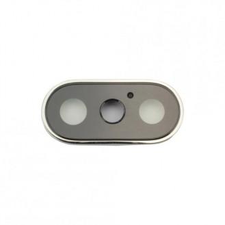 Kamera Linse mit Rahmen Kompatibel mit iPhone X Weiss