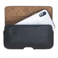Aslant Lederschutzhülle für iPhone XS Max Rustikal Schwarz