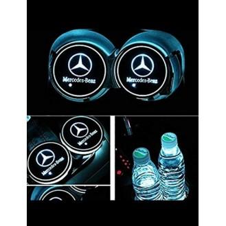 2 LED Cup Holder Halter Matte Pad Auto Flasche Mercedes