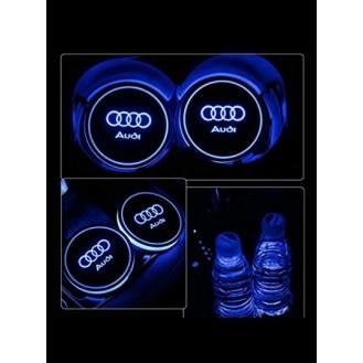 2 LED Cup Holder Halter Matte Pad Auto Flasche Audi