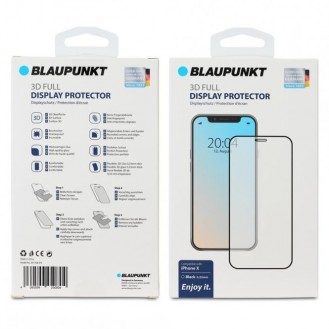 Blaupunkt 3D Full Tempered Displayschutzglas (Panzerglas) für Apple iPhone X/XS, Schwarz