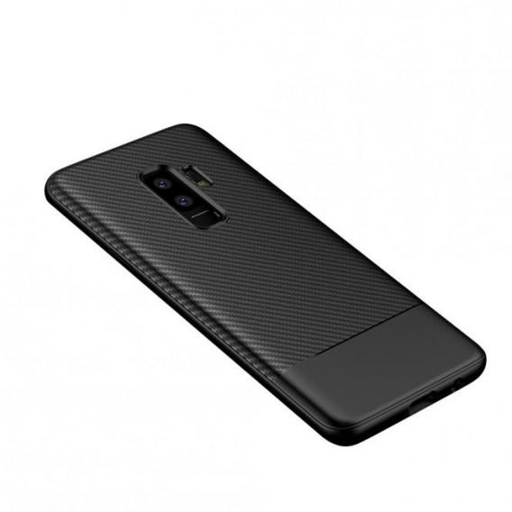TPU Schutzhülle Carbon Design Schwarz für Samsung Galaxy S9