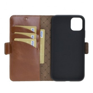 Bouletta Echt Leder iPhone 11 Book Wallet Braun