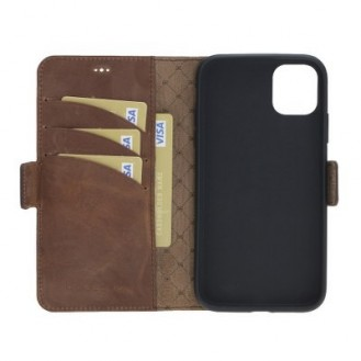 Bouletta Echt Leder iPhone 11 Book Wallet Antik Braun