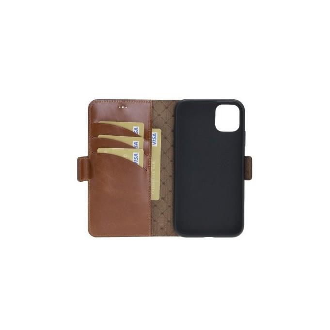 Bouletta Echt Leder iPhone 11 Book Wallet Braun