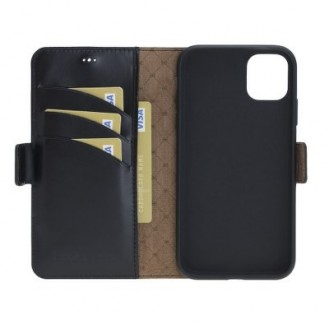 Bouletta Echt Leder iPhone 11 Book Wallet Schwarz