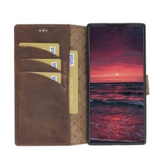 Bouletta Echt Leder Galaxy Note 10 Book Wallet Antik Braun