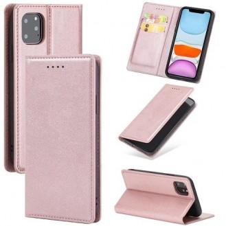 Magnetverschluss Kartenhalter Leder-Telefonkasten Für Apple IPhone 11, Rosa