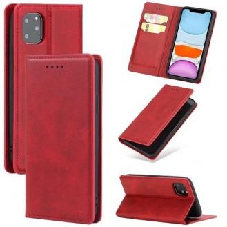 Magnetverschluss Kartenhalter Leder-Telefonkasten Für Apple IPhone 11 Pro Max, Rot