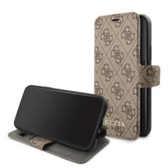 iPhone 11 Pro Guess Charms Ledertasche Handyhülle Kartenfach Braun