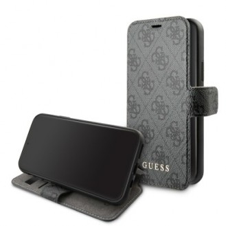 iPhone 11 Pro Guess Charms Ledertasche Handyhülle Cover Kartenfach Grau