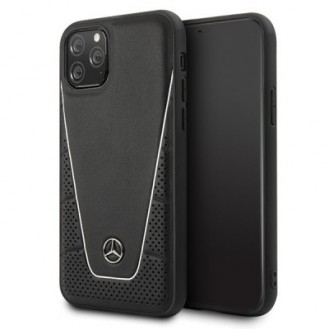 iPhone 11 Pro Max Mercedes Benz Quilted Echtes Leder Case Schwarz