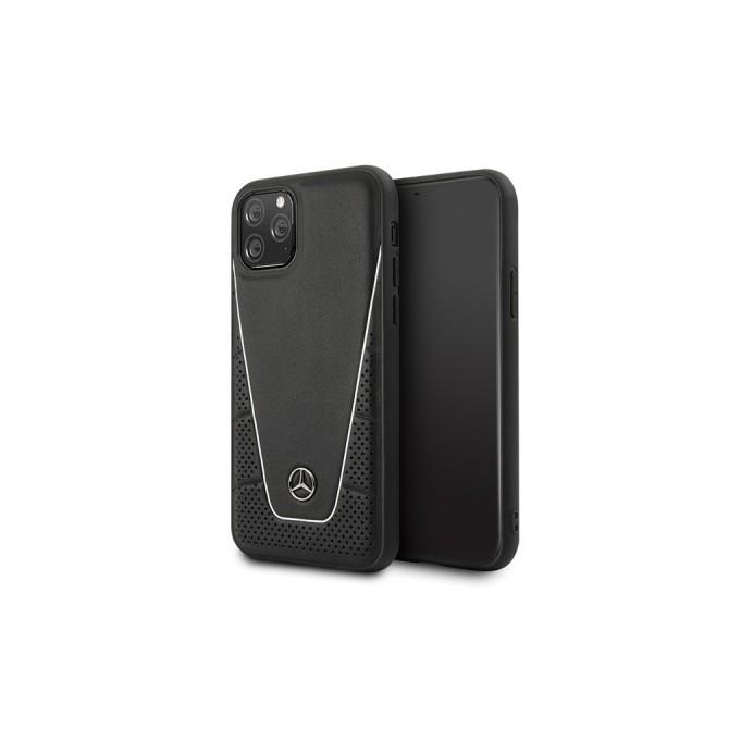 iPhone 11 Mercedes Benz Quilted Echtes Leder Case Schwarz