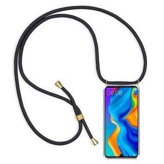 PT line TPU Schutzhülle mit Umhängeband für Huawei P30 lite, Transparent / Schwarz