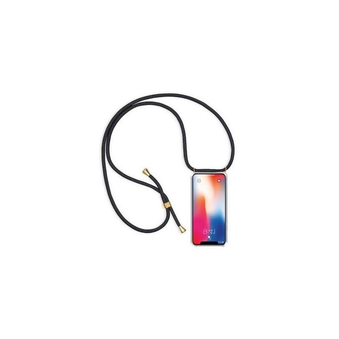 PT line TPU Schutzhülle mit Umhängeband für iPhone X/XS, Transparent / Schwarz
