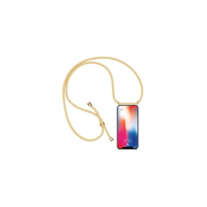 PT line TPU Schutzhülle mit Umhängeband für iPhone X/XS, Transparent / Aprikose
