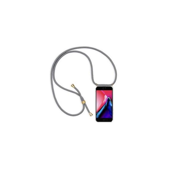 PT line TPU Schutzhülle mit Umhängeband für iPhone 7/8, Transparent / Grau
