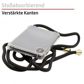 PT line TPU Schutzhülle mit Umhängeband für iPhone 11, Transparent / Schwarz