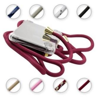 PT line TPU Schutzhülle mit Umhängeband für iPhone 11, Transparent / Dunkelrot