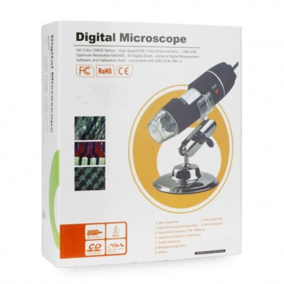 Digital HD Microscope 5x Digital Zoom USB LED Light Adjustable